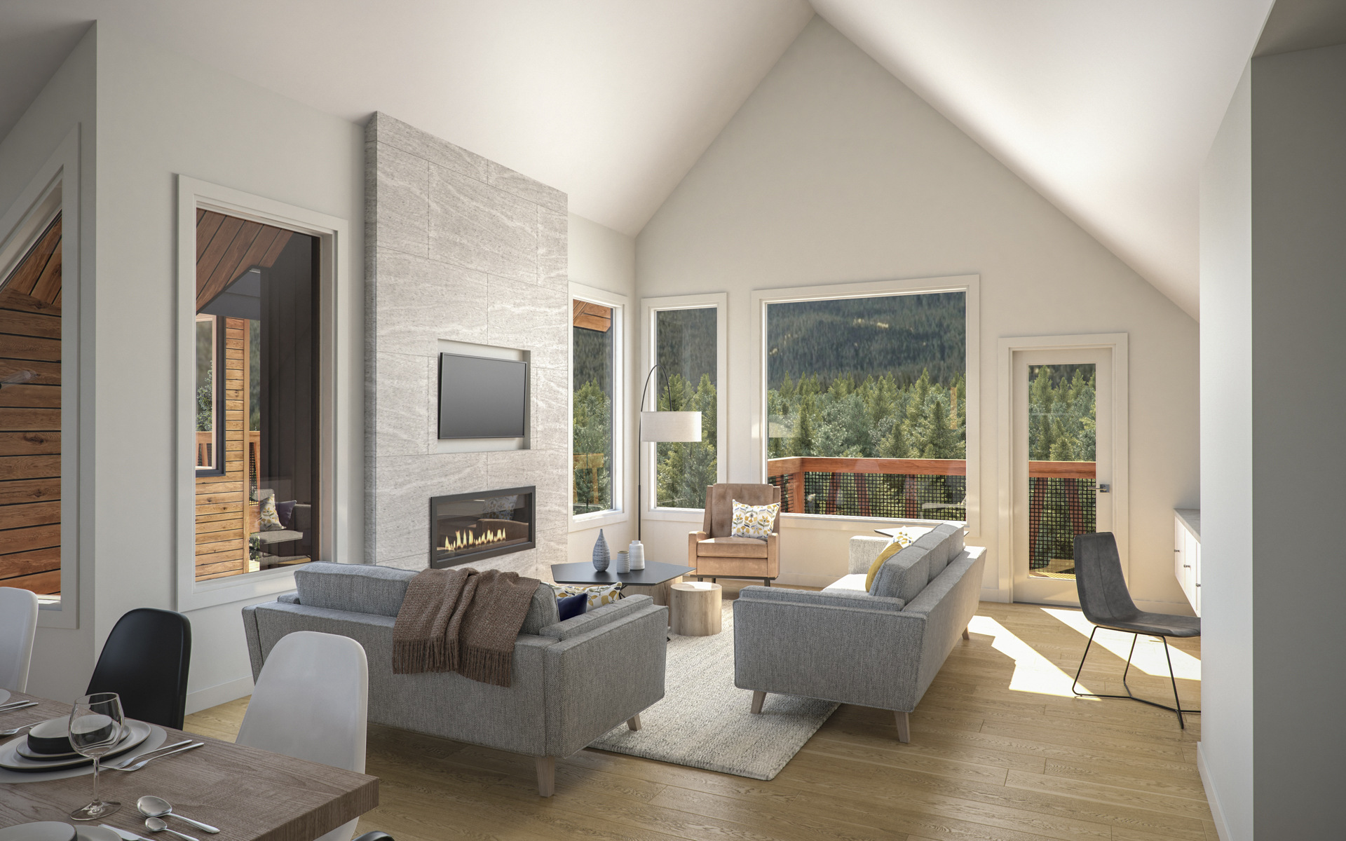 • Spacious floor plans feature open living room/ kitchen/dining room combinations and large windows for maximum light and energy flow. • Quality flooring includes oversized tiles, carpeting with 7 lb. underlay, and premium engineered hardwood trimmed with 4-inch baseboards. • Choose from 3 professionally designed colour palettes – Scandi, Summit or Revere.